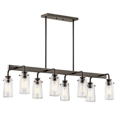 Braelyn 8-Light Olde Bronze Linear Chandelier with Clear Seeded Glass Shade