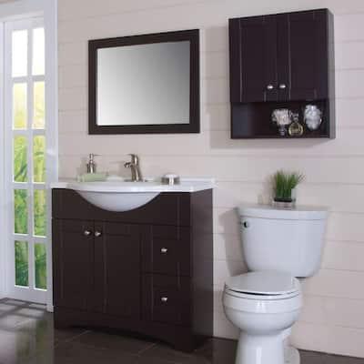 Del Mar 21 in. W x 26 in. H x 8 in. D Over the Toilet Bathroom Storage Wall Cabinet in Espresso