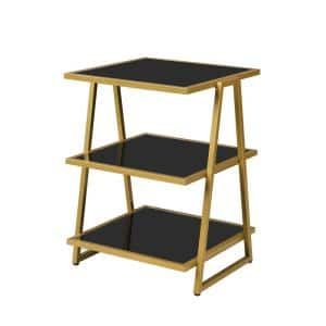 Garrity 20 in. Black and Gold 28 in. High Square Glass Top End Table with Shelves