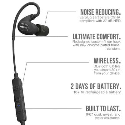 PRO 2.0 Bluetooth Hearing Protection Earbuds, 27 dB Noise Reduction Rating, OSHA Compliant Work Ear Protection (Black)