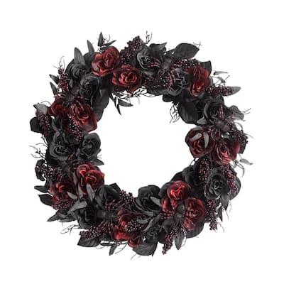 30 in. Black Burgundy Halloween Rose Wreath