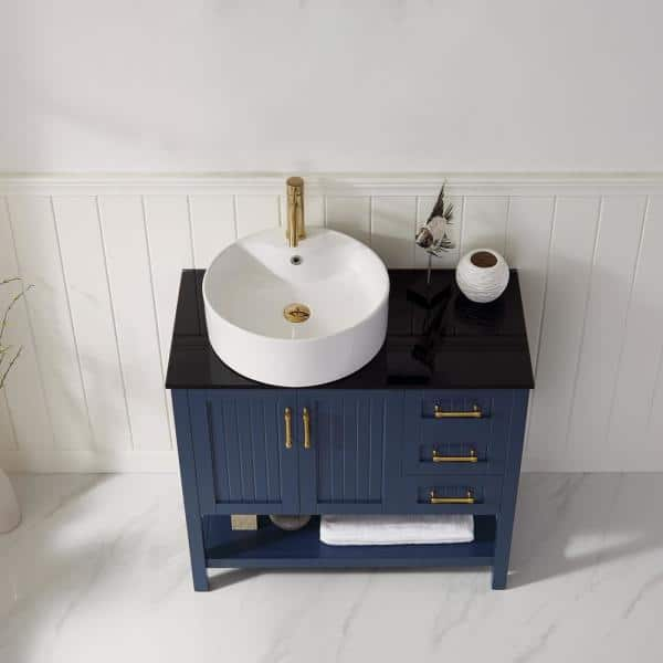 Roswell Modena 36 In Vanity In Blue With Tempered Glass Top In Black With White Vessel Sink 856036 Rb Bg Nm The Home Depot