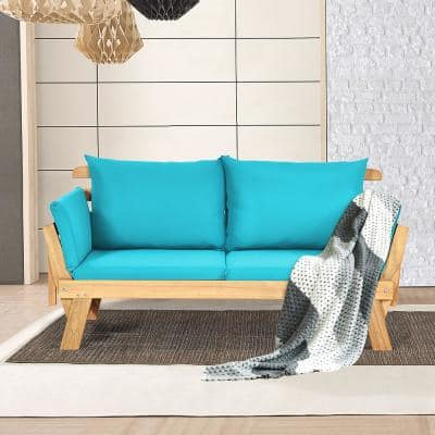 1-Piece Wood Outdoor Recliner Sofa with Turquoise Cushions