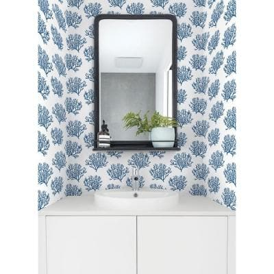 Marine Blue Coastal Coral Reef Peel and Stick Wallpaper (Covers 30.75 sq. ft.)