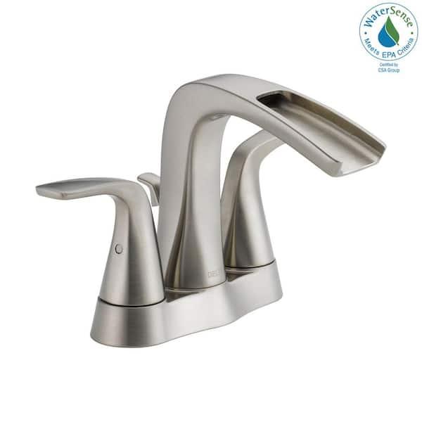 Delta Tolva 4 In Centerset 2 Handle Bathroom Faucet In Brushed Nickel 25724lf Ss Eco The Home Depot