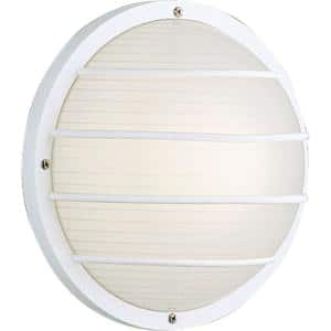 Bulkheads Collection 1-Light White Ribbed Polycarbonate Modern Outdoor 10'' Wall Or Ceiling Mounted Fixture