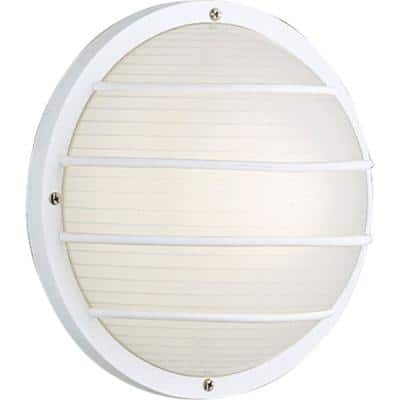 """Bulkheads Collection 1-Light White Ribbed Polycarbonate Modern Outdoor 10"""" Wall Or Ceiling Mounted Fixture"""