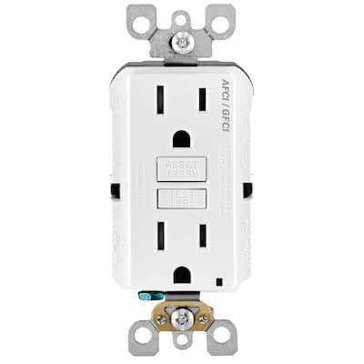 15 Amp 125-Volt Self-Test SmartlockPro Tamper Resistant AFCI/GFCI Dual Function Duplex Outlet, White (10-Pack)