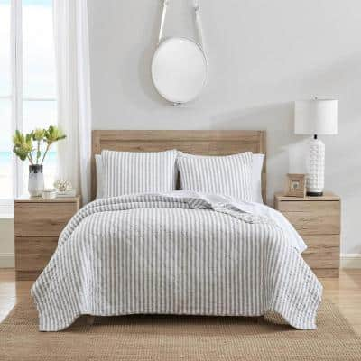 Willow Way Ticking Stripe 3-Piece Gray Cotton King Quilt Set