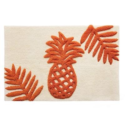 Batik Pineapple Orange Cotton 20 in. x 30 in. Rug