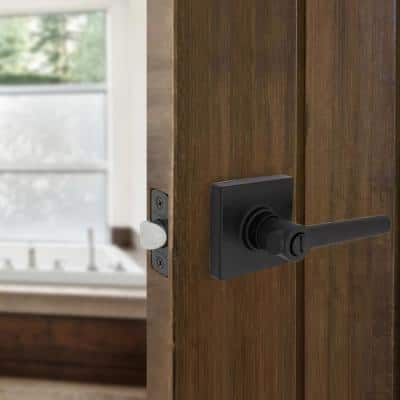 Highland Matte Black Bed and Bath Door Lever with Square Rose