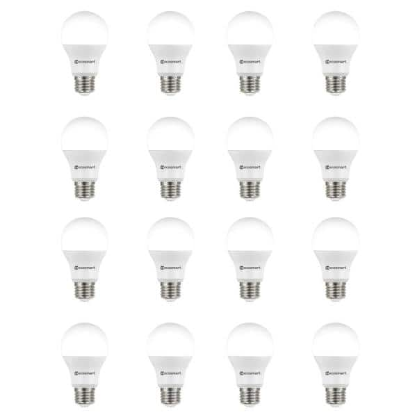 Ecosmart 60 Watt Equivalent A19 Non Dimmable Led Light Bulb Soft White 16 Pack A7a19a60wes01 The Home Depot