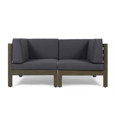 Hadlee Gray Wood Outdoor Loveseat with Dark Gray Cushions