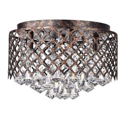 Clara 4-Lights Antique Copper Flush Mount with Lattice Drum Shade and Crystals