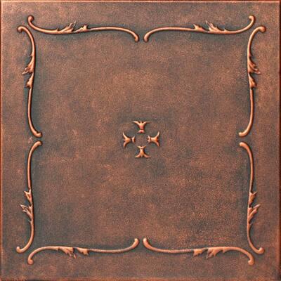 Spring Buds 1.6 ft. x 1.6 ft. Glue Up Foam Ceiling Tile in Black Copper