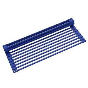 Multipurpose Dark Blue Over-Sink Roll-Up Dish Drying Mat Rack