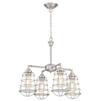 Nolan 4-Light Brushed Nickel Chandelier/Semi-Flush Mount with Cage Shades