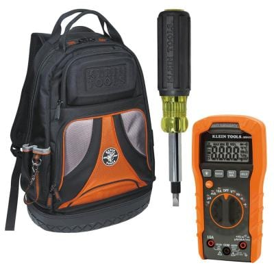 3-Piece Backpack, Multi-bit Screwdriver and 600-Volt Auto-Ranging Digital Multimeter Tool Set