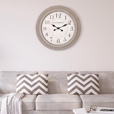 Woodgrain Circle Washed Grey Wall Clock