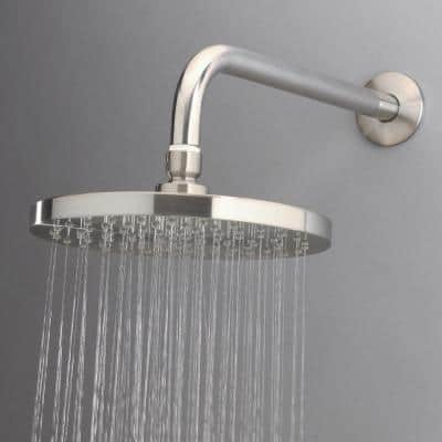 1-Spray 8 in. Single Wall Mount Fixed Shower Head in Brushed Nickel