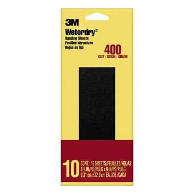 Imperial Wetordry 3-2/3 in. x 9 in. 400 Grit Silicon-Carbide Sandpaper (10 Sheets-Pack)