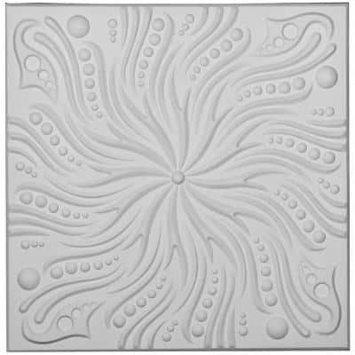 Swirl 2 ft. x 2 ft. Glue Up or Nail Up Polyurethane Ceiling Tile in White