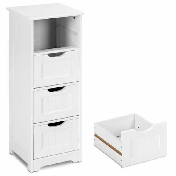 Costway 12 In Bathroom Floor Cabinet, Bathroom Floor Cabinet Storage Organizer With 4 Drawers Free Standing