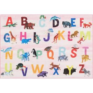 Elementary Zoo Alphabet Pink 6 ft. 6 in. x 9 ft. 5 in. Indoor Area Rug