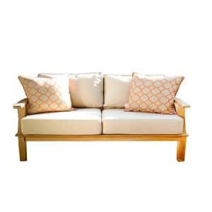 Pavilion 57 in. Teak Outdoor Sofa with 3-Layer Tan Cushions