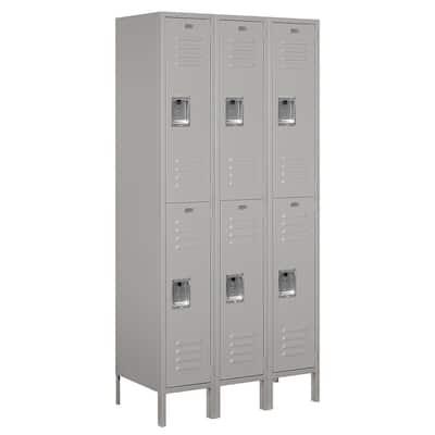 62000 Series 36 in. W x 78 in. H x 18 in. D 2-Tier Metal Locker Unassembled in Gray