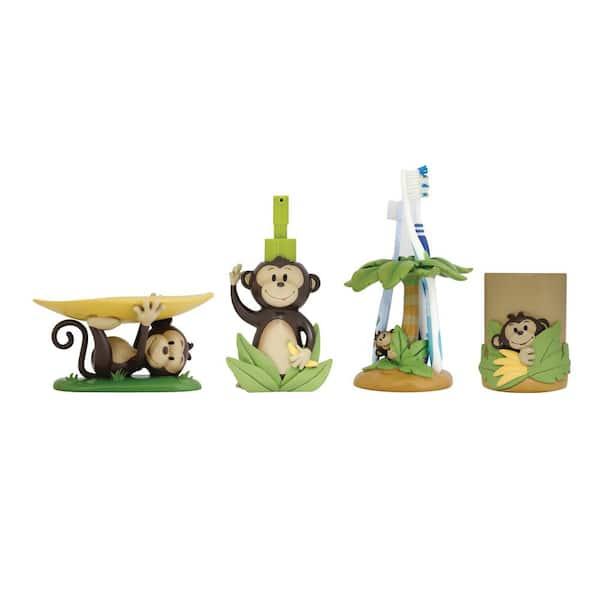 Modona Monkey 4 Piece Kids Bathroom Accessories Set Bs Mk A The Home Depot