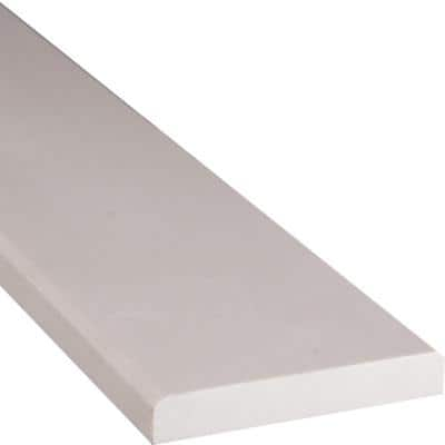 White Double Bevelled 4 in. x 36 in. Engineered Marble Threshold Floor and Wall Tile