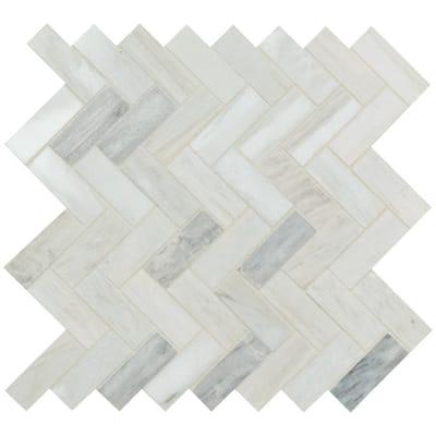 Angora Herringbone 12 in. x 12 in. x 10 mm Polished Marble Mosaic Tile (10 sq. ft. / case)