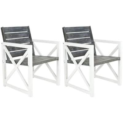 Irina White/Ash Grey Acacia Wood Outdoor Lounge Chair (2-Pack)