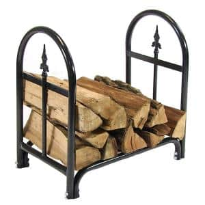 2 ft. Steel Firewood Log Rack in Black