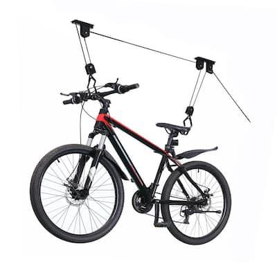 Black 1-Bike Heavy Duty Hoist Garage Bike Rack