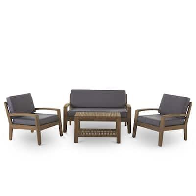 Grenada Grey 4-Piece Wood Patio Conversation Set with Dark Grey Cushions