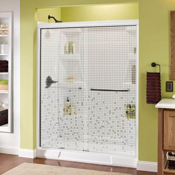 Delta Simplicity 60 In X 70 In Semi Frameless Traditional Sliding Shower Door In White And Bronze With Mozaic Glass 1118215 The Home Depot
