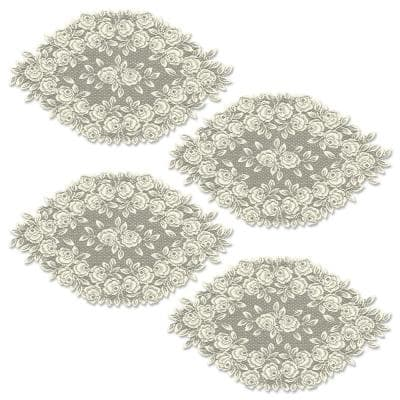 Tea Rose 14 in. x 24 in. Ecru Lace Polyester Doily (Set of 4)