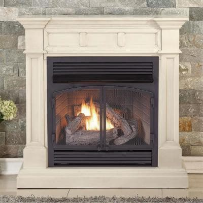 Duluth Forge Dual Fuel Ventless Gas Fireplace - 32,000 BTU, T-Stat Control, Antique White Finish