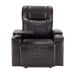 Black Power Motion Recliner with USB Charging Port and Hidden Arm Storage 2-Convenient Cup Holders design