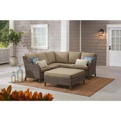 Windsor 4-Piece Brown Wicker Outdoor Patio Sectional Sofa with Ottoman and CushionGuard Biscuit Tan Cushions