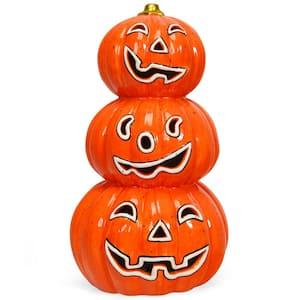 11 in. Orange Battery Powered LED Haunted Halloween Pumpkin Lantern