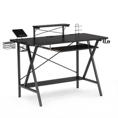 47.2 in. Rectangular Black Computer Desk Gaming Desk with USB Cup Holder and Headphone Hook