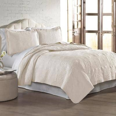 3 pc Solid embroidered quilt sets Full/Queen Ivory