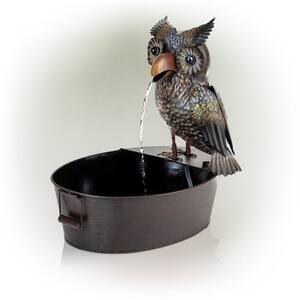 23 in. Tall Indoor/Outdoor Metal Owl Waterfall Fountain, Multicolor