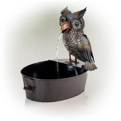 23 in. Tall Indoor/Outdoor Metal Owl Water Fountain, Multicolor