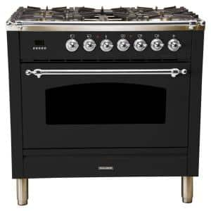 36 in. 3.55 cu. ft. Single Oven Italian Gas Range True Convection, 5 Burners, Griddle, LP Gas, Chrome Trim/Glossy Black
