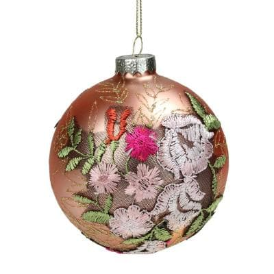 4 in. Pink Floral Applique Glass Ball Christmas Ornament
