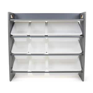 Inspire Grey Toy Organizer with Shelf and 9 Storage Bins, 31.3 in. H x 34 in. W x 11 in. D